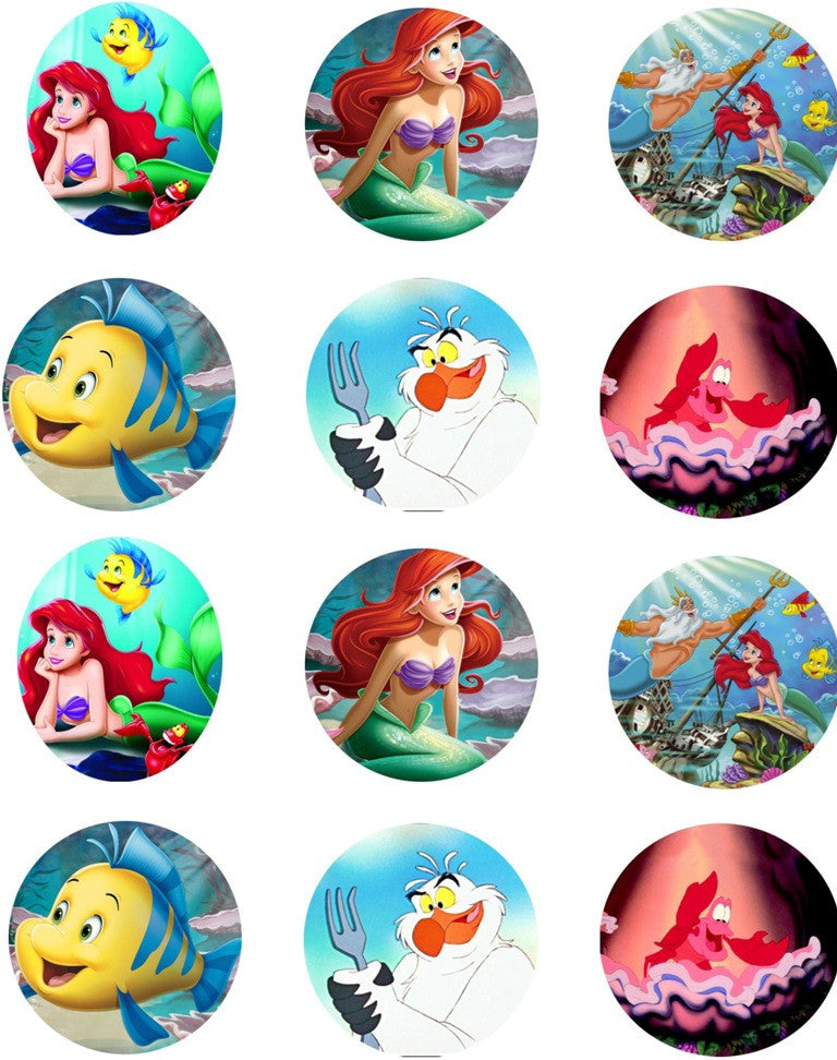Ariel The Little Mermaid And Friends Edible Icing Cupcake Toppers