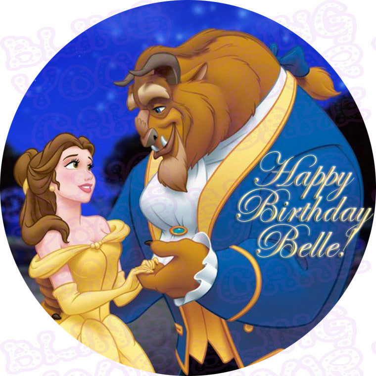 Beauty and the Beast Belle and Beast Edible Icing Cake Decor Toppers - BAB2