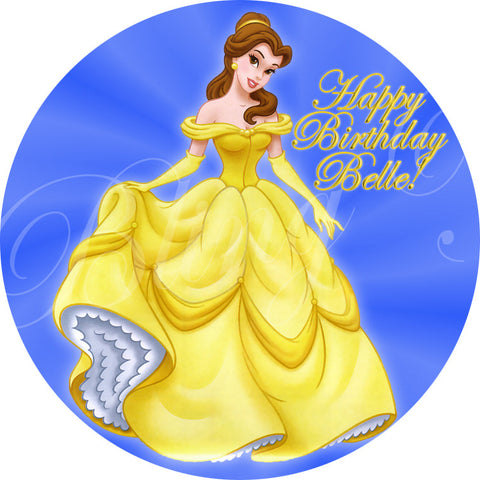 Beauty and the Beast Belle Edible Icing Cupcake or Cookie Decor