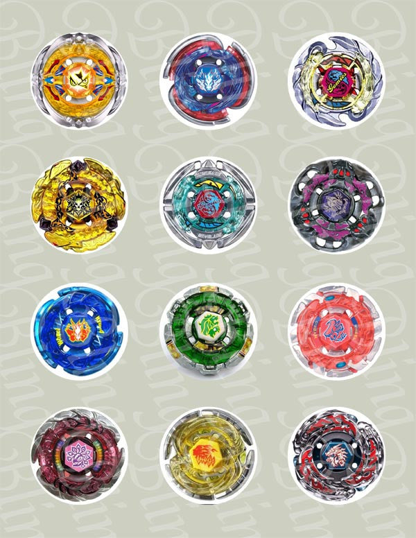Beyblade Discs Edible Icing Cupcake Decor Toppers - BB2C