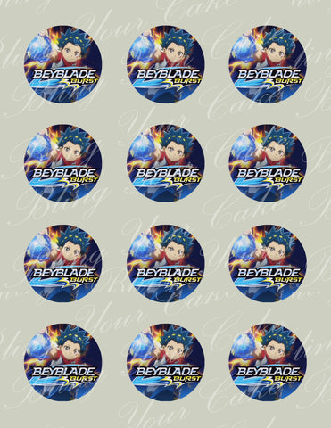 Beyblade Burst Edible Icing Cupcake Decor Toppers - BB4