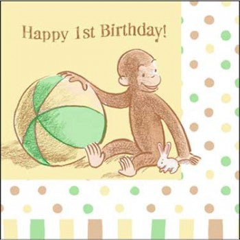 Curious George Cute and Curious Baby 1st Birthday Beverage Napkins