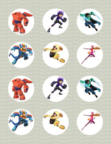 Big Hero 6 Inspired Edible Icing Cupcake or Cookie Decor Toppers - BH2