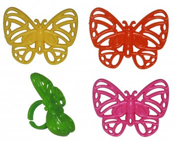 24 Bright Butterfly Cupcake Rings