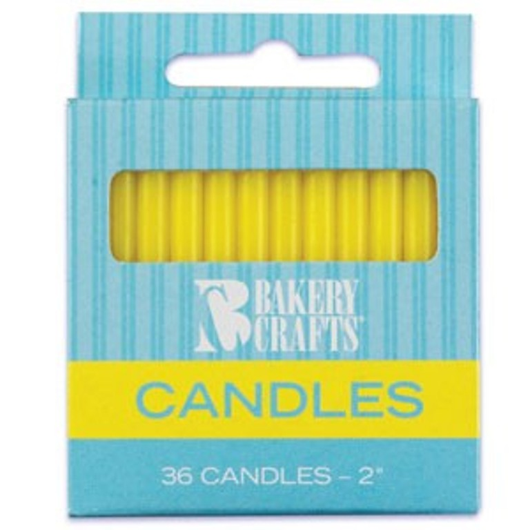 Solid Yellow Plain Skinny Candles