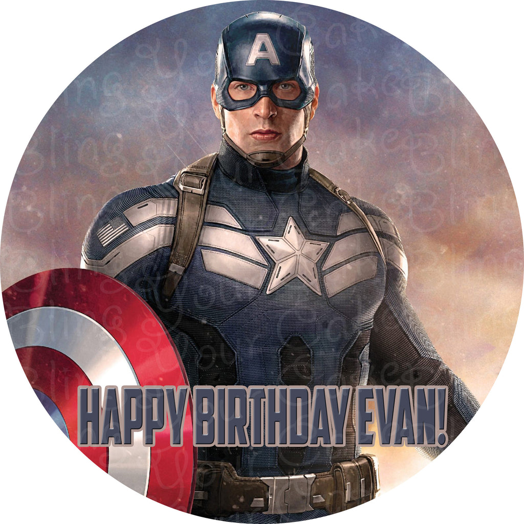 Captain America Civil War Round Edible Icing Cake Decor Toppers - CAPAM4