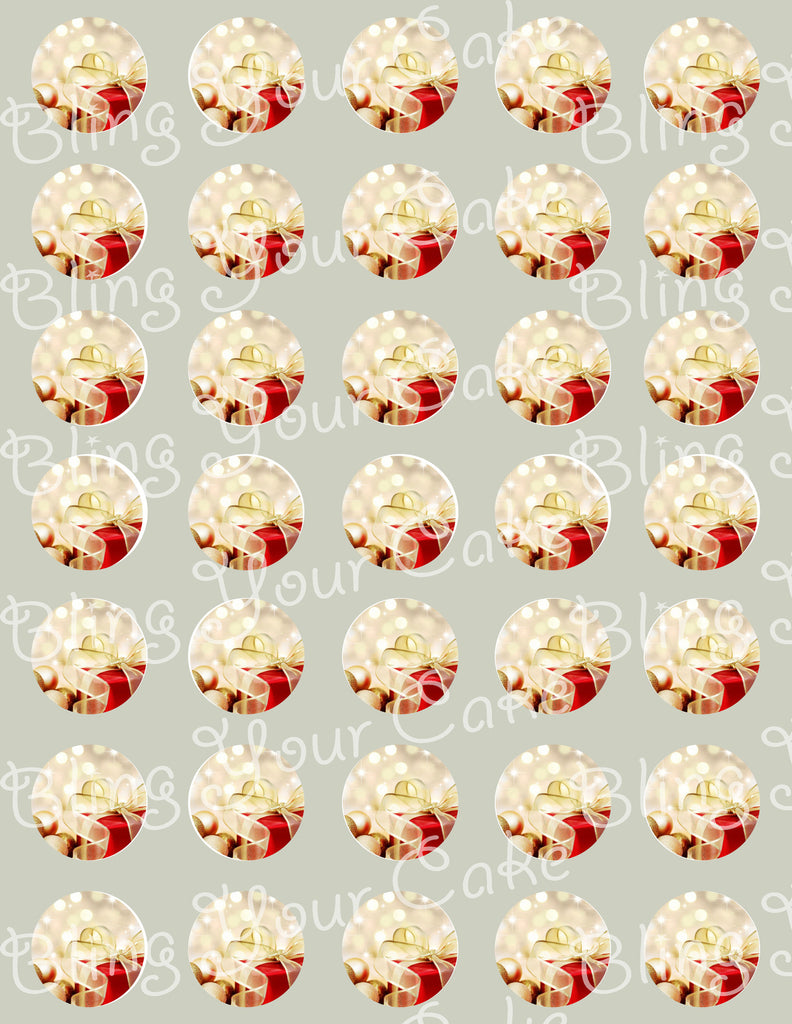 Christmas Present Edible Icing Cake Pop Decor Toppers - CHR1E