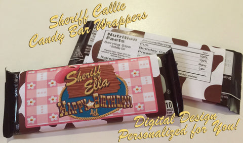 Disney Sheriff Callie Logo Inspired Personalized Happy Birthday Candy Bar Wrapper Designs - CW-SC1