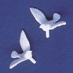 24 White Dove Cupcake Toppers