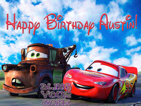 Disney Cars Lightning McQueen and Tow Mater Racing Edible Icing Sheet Cake Decor Topper - DC3