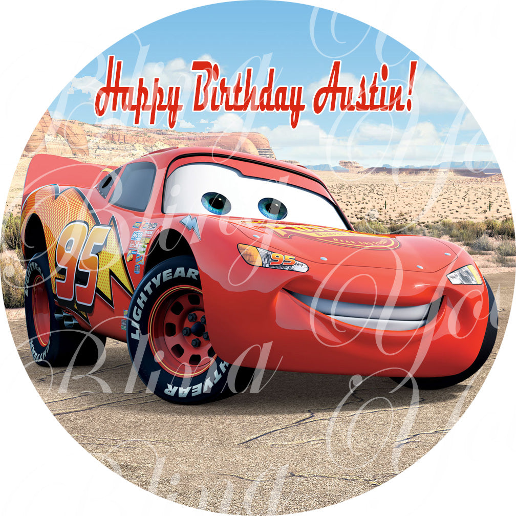 Disney Cars Lightning McQueen Edible Icing Sheet Cake Decor Topper - DC6