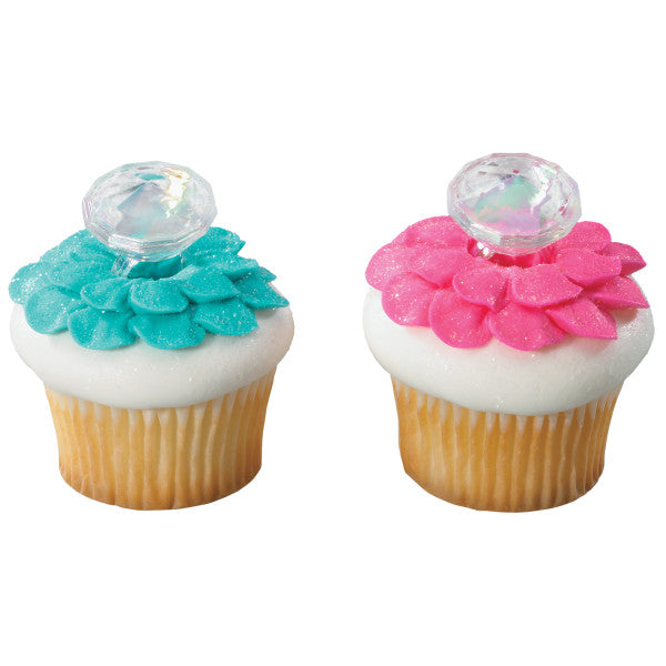 24 Diamond Ring Cupcake Topper Rings