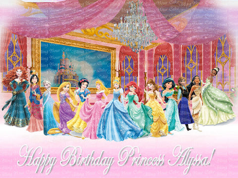 Disney Princess Royal Ball Inspired Edible Icing Sheet Cake Decor Topper featuring all the Disney Princesses