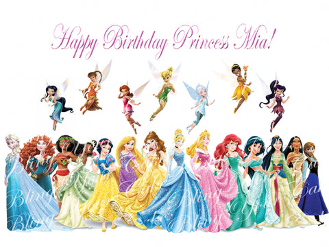 Disney Princess & Fairies Edible Icing Sheet Cake Decor Topper - DP6PF