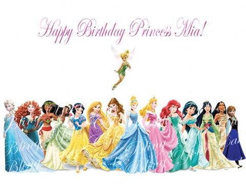 Disney Princess & Tinkerbell Edible Icing Sheet Cake Decor Topper - DP6PT