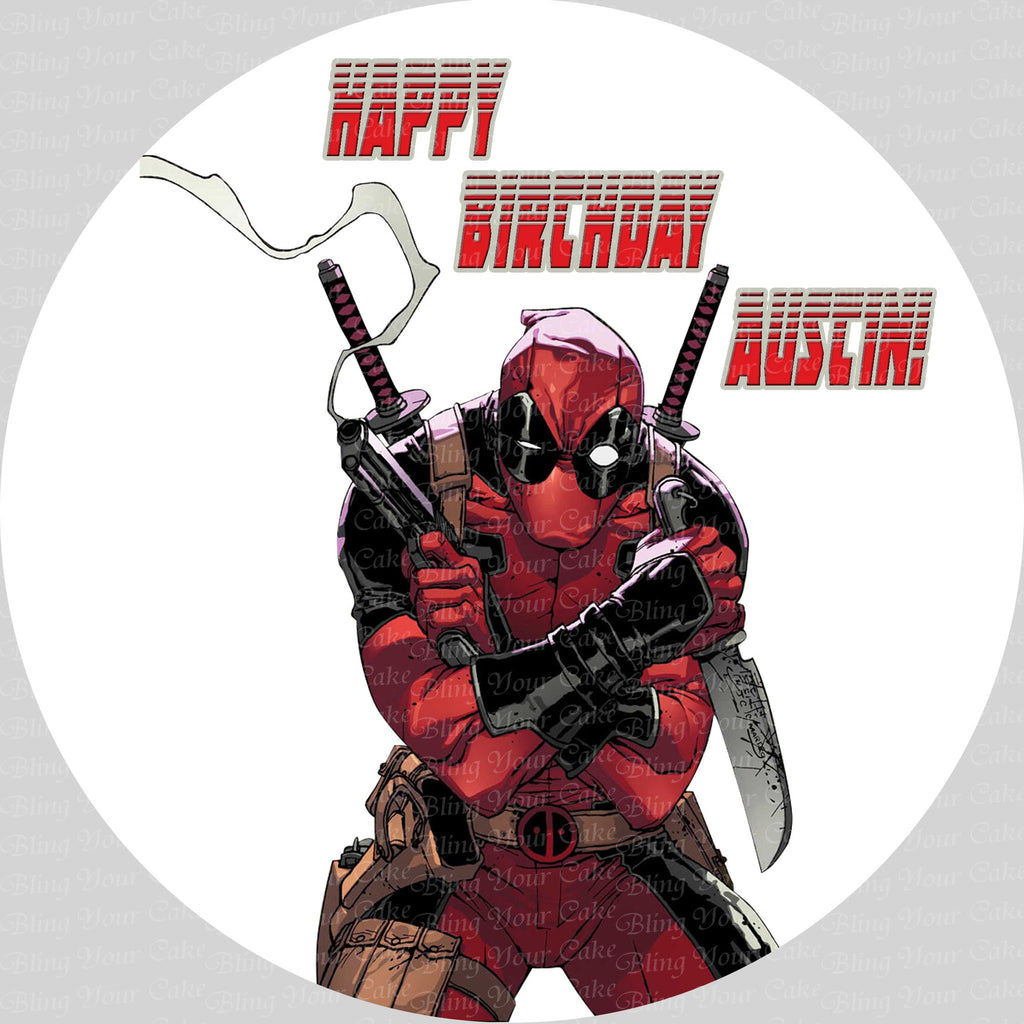 Deadpool Edible Icing Sheet Cake Decor Topper - DPL1
