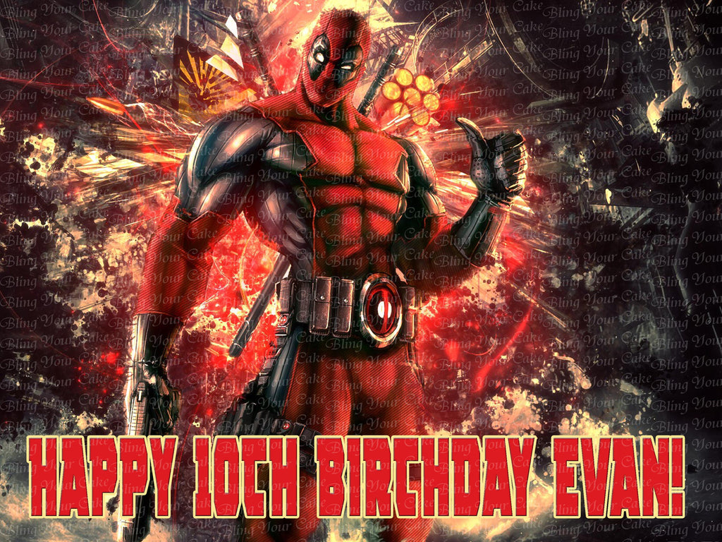 Deadpool Edible Icing Sheet Cake Decor Topper - DPL2