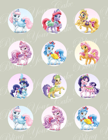 Disney Princess Palace Pets Ponies Edible Icing Cupcake Decor Toppers - DPP4C
