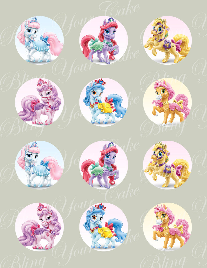 Disney Princess Palace Pets Set of 6 Ponies Edible Icing Cupcake or Cookie Decor Toppers - DPP5
