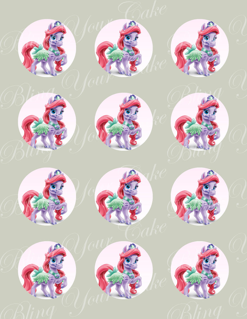 Disney Princess Palace Pets Ariel's Pony Seashell Edible Icing Cupcake or Cookie Decor Toppers