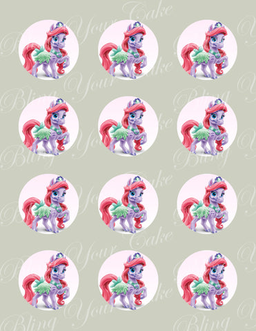 Disney Princess Palace Pets Ariel's Pony Seashell Edible Icing Cupcake or Cookie Decor Toppers - DPP6ARI