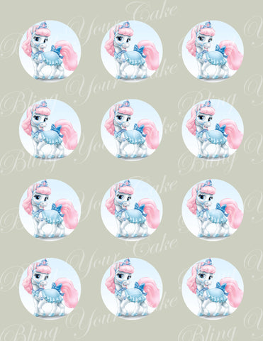 Disney Princess Palace Pets Cinderella's Pony Bibbidy Edible Icing Cupcake or Cookie Decor Toppers - DPP6CIN