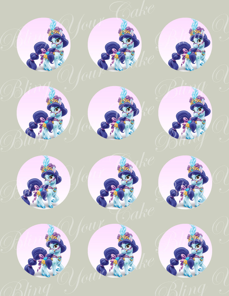 Disney Princess Palace Pets Jasmine's Pony Lapis Edible Icing Cupcake or Cookie Decor Toppers