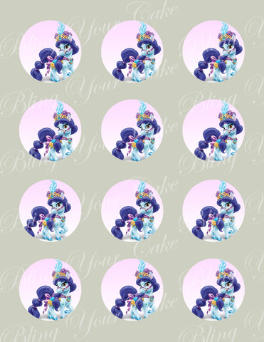 Disney Princess Palace Pets Jasmine's Pony Lapis Edible Icing Cupcake or Cookie Decor Toppers - DPP6JAS