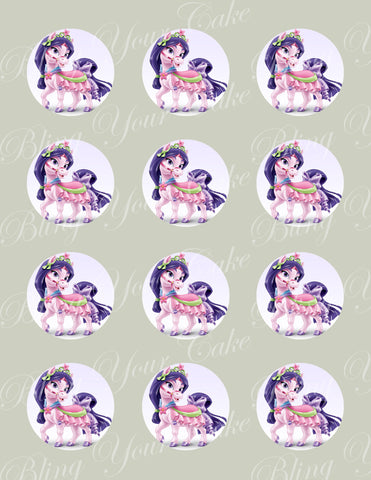 Disney Princess Palace Pets Mulan's Pony Lychee Edible Icing Cupcake or Cookie Decor Toppers - DPP6MUL