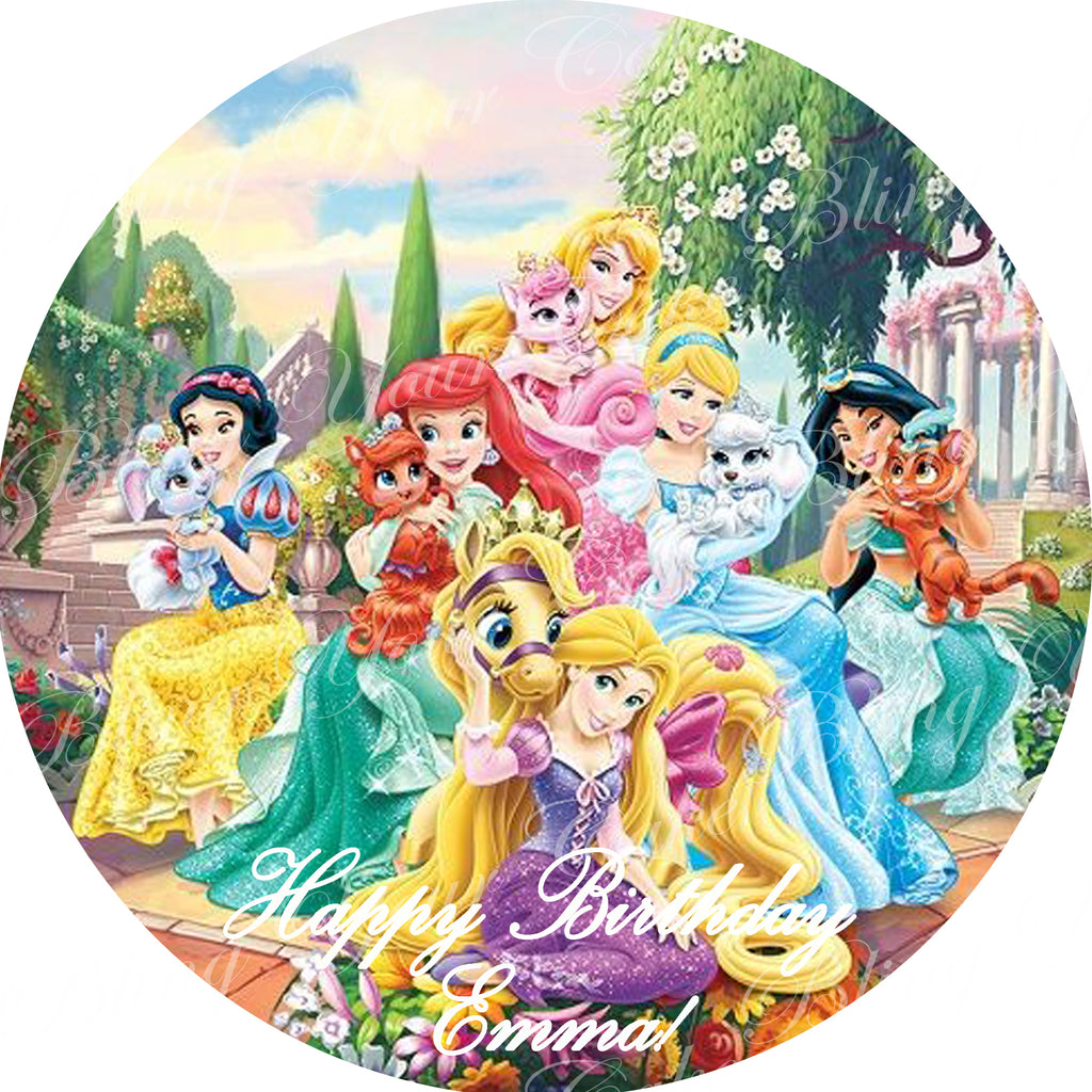 Disney Princess Palace Pets Round Edible Icing Sheet Cake Decor Topper