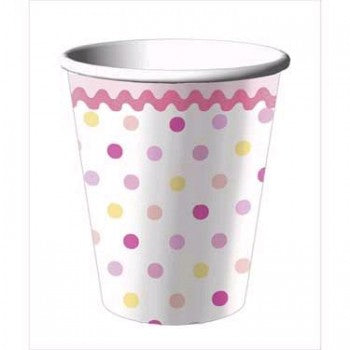 Tinkled Pink Baby Shower Polka-Dot 1st Birthday Party Cups