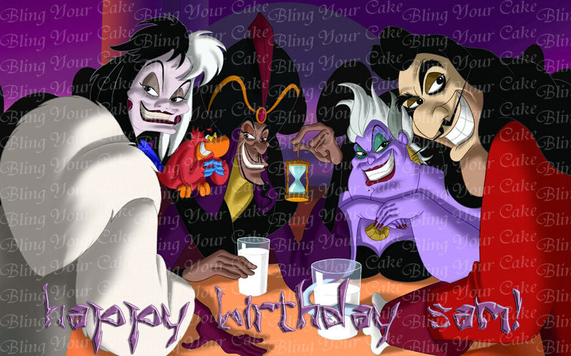 Disney Villains Edible Icing Sheet Cake Decor Topper