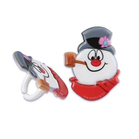 24 Frosty the Snowman Cupcake Topper Rings