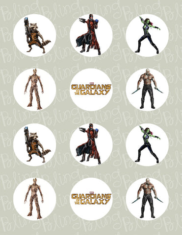 Guardians of the Galaxy Inspired Edible Icing Cupcake or Cookie Decor Toppers - GOTG2