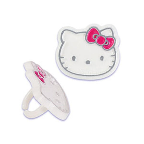 24 Hello Kitty Foil Cupcake Topper Rings