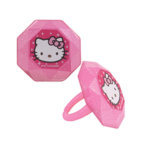 24 Hello Kitty Princess Cupcake Topper Rings