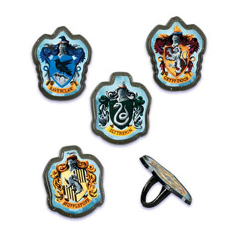 12 Harry Potter Hogwarts Houses Cupcake Topper Rings