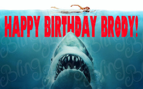 Jaws Inspired Edible Icing Sheet Cake Decor Topper - JAWS1