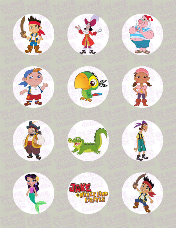 Jake and the Neverland Pirates Inspired Edible Icing Cupcake Decor Toppers - JNP1C