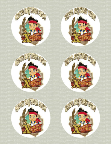 Personalized Jake and the Neverland Pirates Edible Icing Cupcake or Cookie Decor Toppers - JNP2