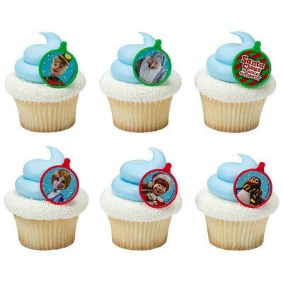 24 Kris Kringle and Friends Santa Claus is Coming to Town Cupcake Topper Rings