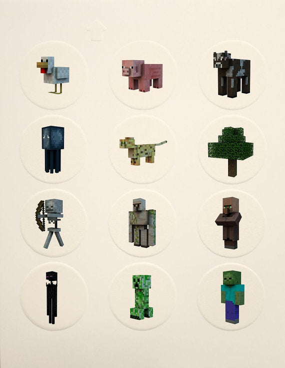 Minecraft Character Edible Icing Cupcake Decor Toppers - MC10C