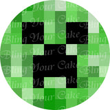 Minecraft Creeper Face Edible Icing Sheet Cake Decor Topper