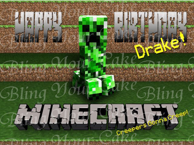 Minecraft Creeper's Gonna Creep Inspired Edible Icing Sheet Cake Decor Topper