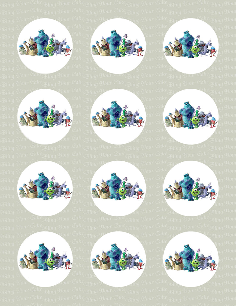 Monsters Inc Inspired Edible Icing Cupcake or Cookie Decor Toppers - MI2