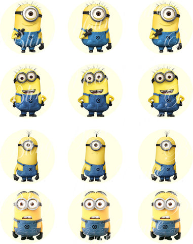 The Minions Inspired Edible Icing Cupcake Decor Toppers - MIN2C