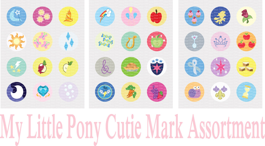 My Little Pony Cutie Mark Inspired Edible Icing Cupcake Decor Toppers - MLP16C