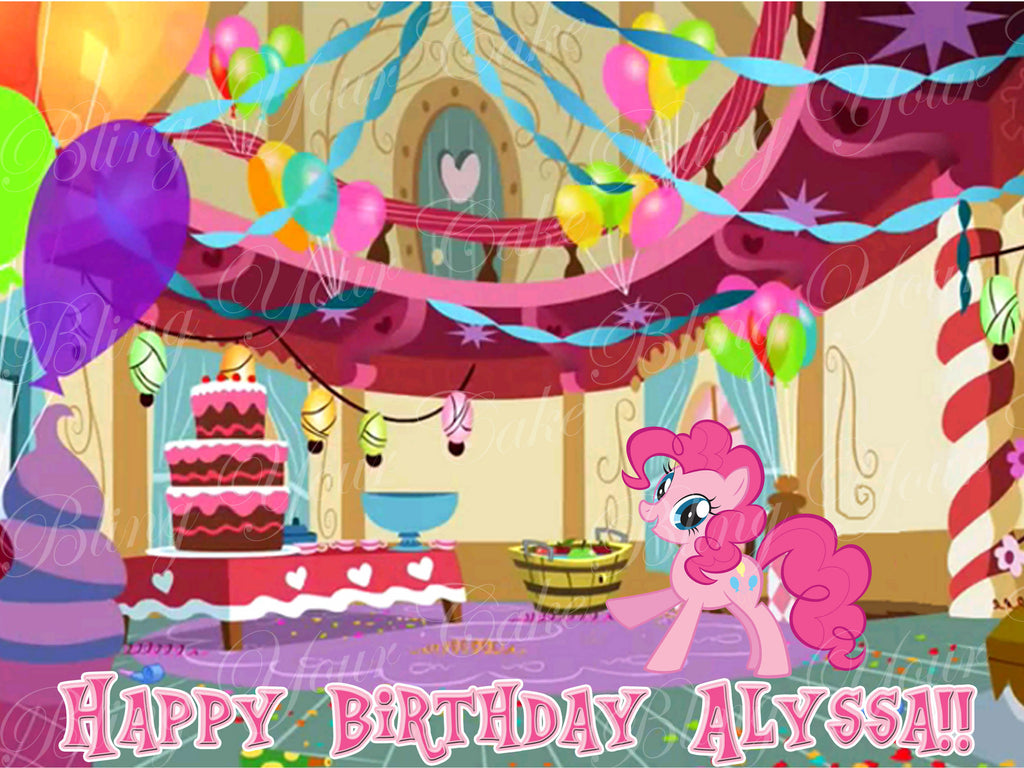 My Little Pony Pinkie Pie Party Edible Icing Sheet Cake Decor Topper - MLP19