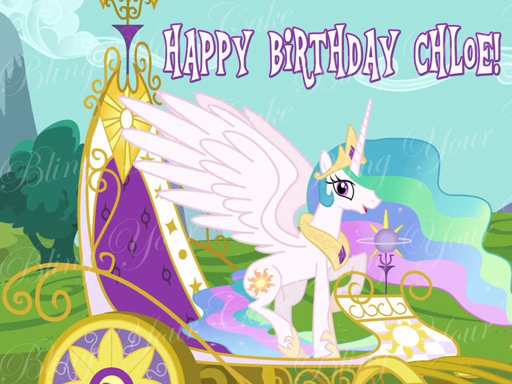 My Little Princess Celestia Edible Icing Sheet Cake Decor Topper - MLP25