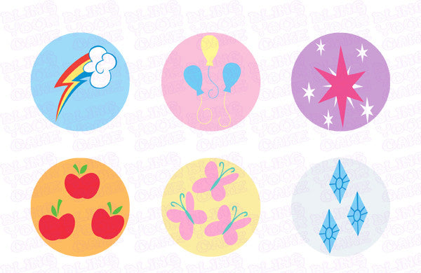 My Little Pony Mane 6 Cutie Mark Edible Icing Sheet Cake